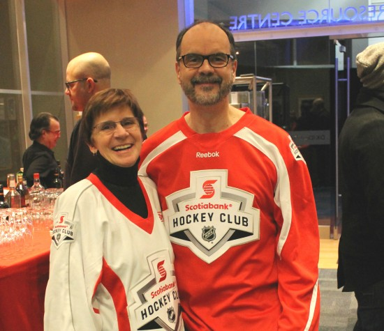 Steve Hoscheit, President & CEO of Trillium Health Partners Foundation and Tina Triano, CEO of Oakville Hospital Foundation at Scotiabank Skates.