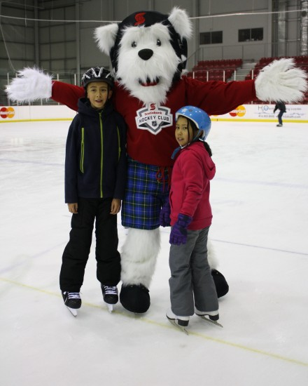 Scottie the dog joins participants at Scotiabank Skates' family free skate.